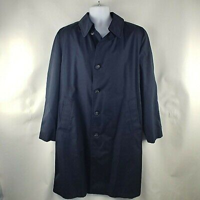 Men's London Fog Maincoat Flite Aire Trench Coat No Lining Navy Size 42 Long