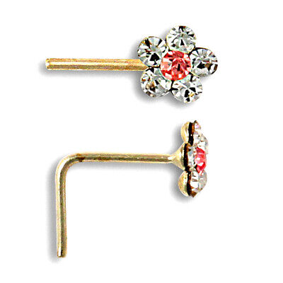 Jewelco London 9ct or Rose et Blanc Cristal Marguerite Nez Clou 4mm