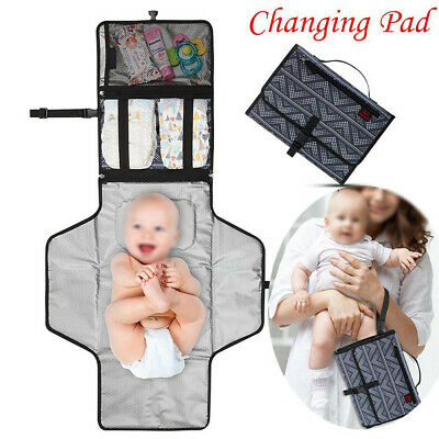 Baby Waterproof Oxford Foldable Travel Diaper Changing Mat Pad Storage Nappy