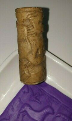 Exceptionally Rare Ancient Canaanite Faience Cylinder Seal 1700 - 1550 B.c
