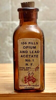 Vintage Medicine Hand Crafted Bottle, Opium and Lead Acetate, Lilly, NO 1, EMPTY