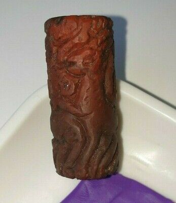 RARE ANCIENT Red Soft Stone CANAANITE FAIENCE CYLINDER SEAL 1700 - 1550 B.C