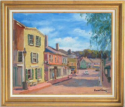 Street In Marblehead~Listed Artist~Original Oil Painting By Marc Forestier