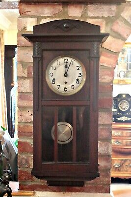 Antique German 'Kienzle' 8-Day Mahogany Case Wall Clock with Westminster Chimes