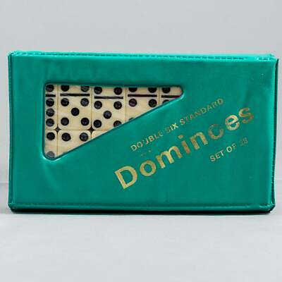 Double Six Standard Dominoes with Green Vinyl Case