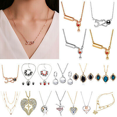 Zircon Love Rose Women Necklace Valentine's Day Pendant Clavicle Chain Jewelry