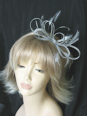 Silver Grey Fascinator Sinamay Feather Races Wedding Alice Band Headband