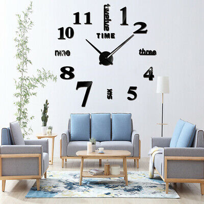 DIY 3D Large Number Mirror Modern Wall Clock Sticker Decor for Home Office Room