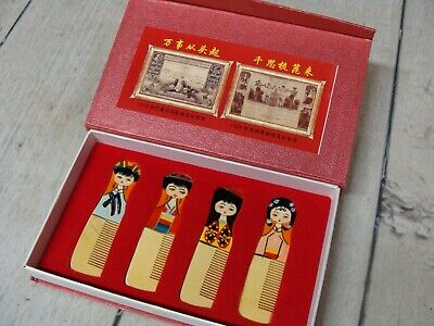 YANLING Wooden & Bamboo Chinese Palace Combs Set of 4  Orig Box Vintage Wood