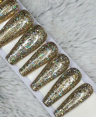 Gold Rainbow holographic glitter gel PRESS ON NAILS long tapered ballerina