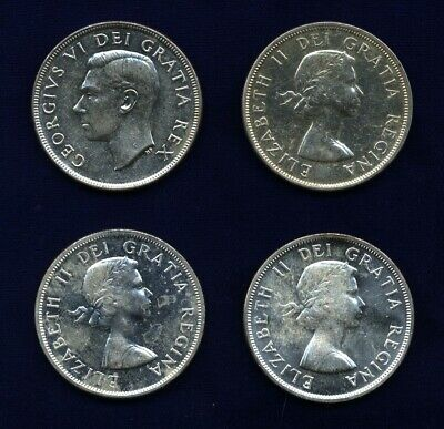 Canada  Silver One-Dollar Coins: 1951, 1956, 1957, 1963, Uncirculated, Lot Of 4