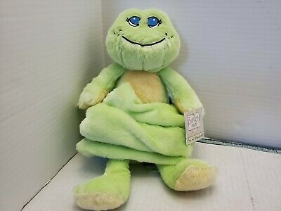 Baby Ganz LIGHT GREEN & YELLOW FROG BLANKET Plush NWT