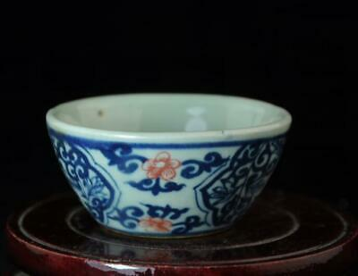 China Old Hand-made Blue And White Porcelain Glazed Red Flower Bowl A02