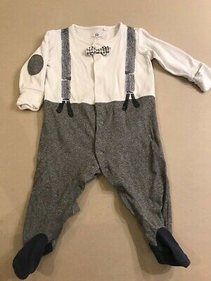 Next babygrow with bow tie and braces, Age 3-6 months, Used