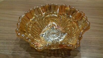 Small Orange Carnival Glass Fluted Scalloped Bowl