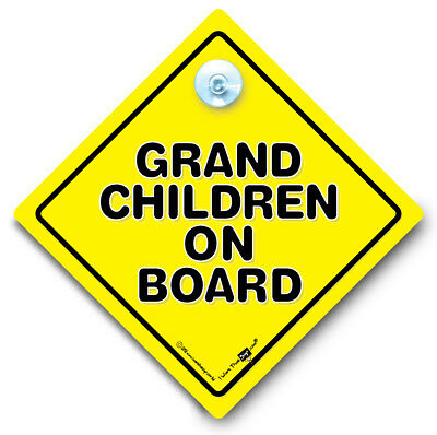 Grandchildren On Board Car Sign, Baby On Board Sign, Suction Cup Sign