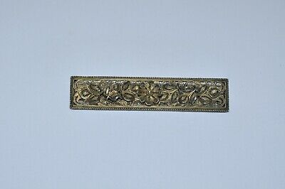 Antique Vintage Sterling Silver Gold Wash Filigree Brooch Pin