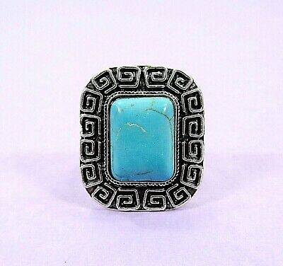 New Antiqued Silver Plated Turquoise Gemstone BIG Ring Size 7 Adjustable