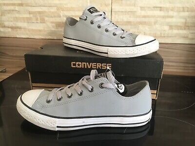 CONVERSE ALL STAR  Grey LEATHER TRAINERS Ladies Girls Uk 4 Eur 37 Worn Twice