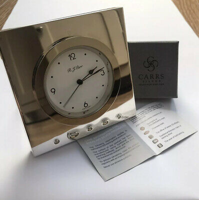Immaculate Carrs of Sheffield Heavy Hallmarked Solid Sterling '925' Silver Clock
