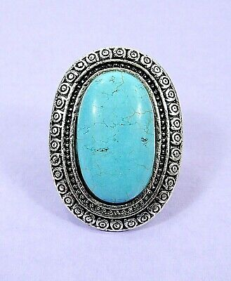 New Antiqued Silver Plated Turquoise Gemstone HUGE Ring Size 7 Adjustable