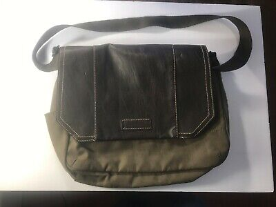 Marc New York Mens Messenger Bag Army Green Canvas Brown Leather Travel