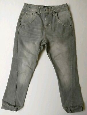 Childrens Boys Jeans Trouser Grey Twisted Leg Cuff Age 11M&S LIMITED