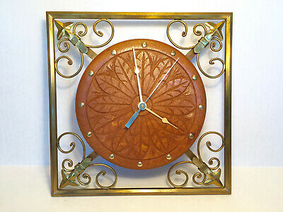 VINTAGE Carved Danish Oak Face Square Brass Frame Wall Clock NEW QUARTZ MOVEMENT