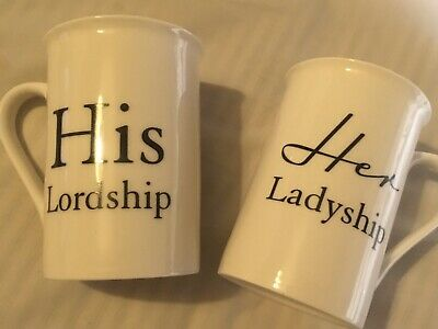 His Lordship /& Her Ladyship Fine China Set of 2 Mugs in Individual Gift Boxes