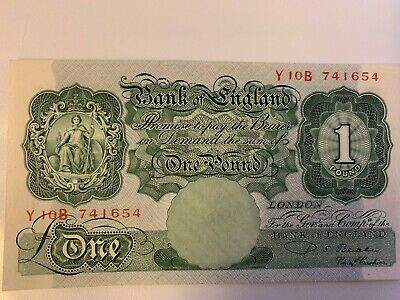 """Bank of England £1 Banknote """"Beale"""" (1949 - 1955) A/UNC"""