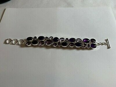 Sterling 925 Silver Violet Faceted & Purple Stone Bracelet 8.5 inches 50.6 Grams