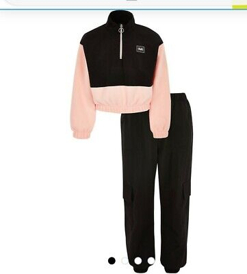River Island girls pink funnel sweatshirt and joggers age 9-10