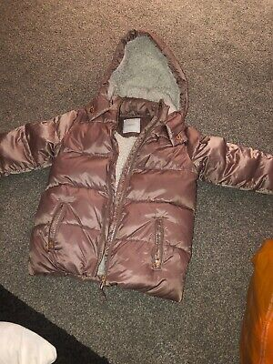 Girls Dusky Pink Padded Hooded Puffa Coat from Next, Age 5-6