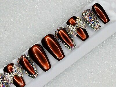 Gold chrome metallic Bling press on coffin nails crystal bow brown bridal set