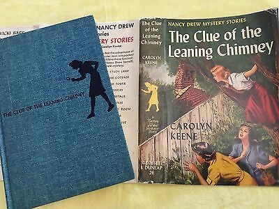 """NANCY DREW #26 """"THE CLUE OF THE LEANING CHIMNEY"""" •DIGGER •hb/dj •1954B-11 •NICE!"""