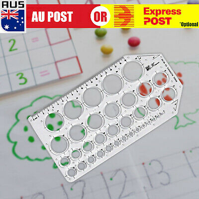 Round Circle Shape Template Ruler Stencil Drawing Drafting Transparent A
