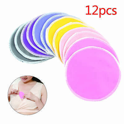 12 pcs Bamboo Reusable Breast Pads.Nursing Organic Plain Washable Pads