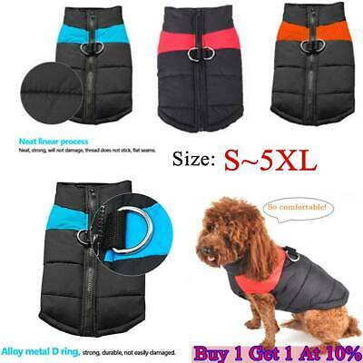 Dog Coat Winter Warm Waterproof Padded Jacket Clothes Coat Small / Large Pet UK