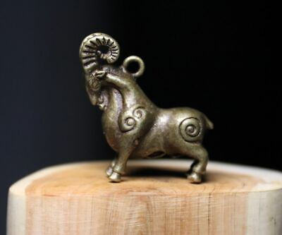 4 cm China Pure Bronze Feng Shui Wealth Sheep Goat Animal Lucky amulet Pendant