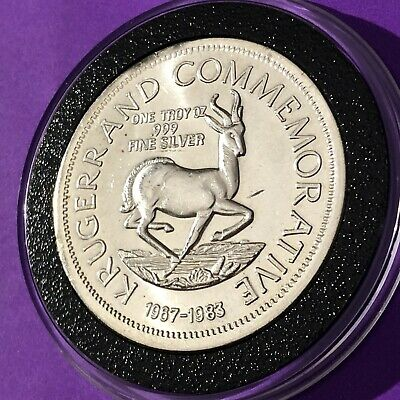 1983 Krugerrand 1 Troy Oz .999 Fine Silver Collectible Coin Round Vintage Medal