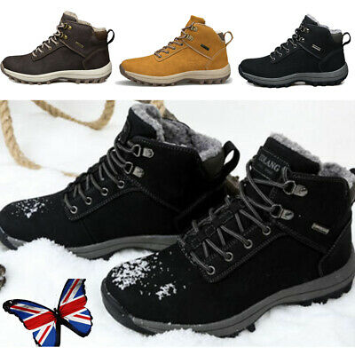 UK Mens Sports Shoes Waterproof Winter Warm Snow Boots Outdoor Hiking Trainers