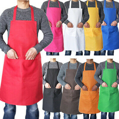 Plain Catering Apron w/ Front Pockets Chefs Butcher Kitchen Cooking Craft Baking