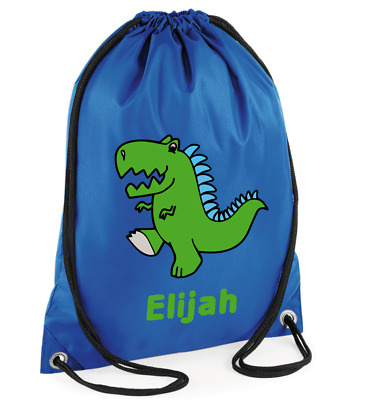 Personalised Dinosaur Drawstring Rucksack Canvas Gym// PE Bag /'Stegosaurus Dino/'