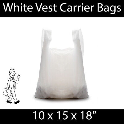 White Vest Carrier Bag 10x15x18 STRONG Shopping Groceries Market Stalls Reusable
