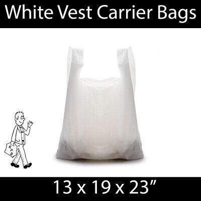 White Vest Carrier Bag 13x19x23 STRONG Shopping Groceries Market Stalls Reusable
