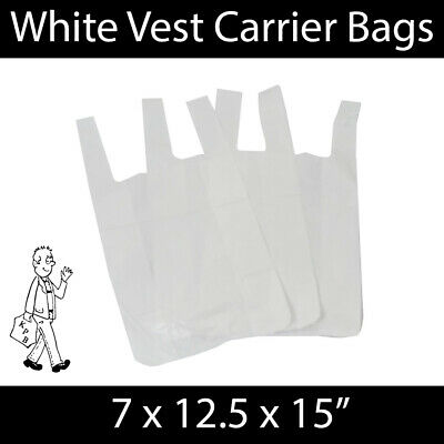 White Vest Carrier Bags S1 7x12.5x15 Shopping Groceries Market Stalls Reusable