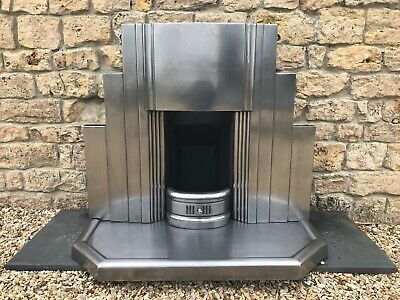 Superb Original 1920s 1930s Art Deco polished cast iron fireplace + kerb hearth