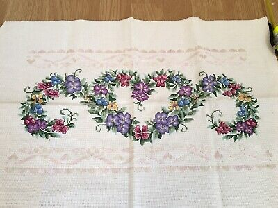 Completed Cross Stitch Heart Flowers Pink Purple Lace Effect