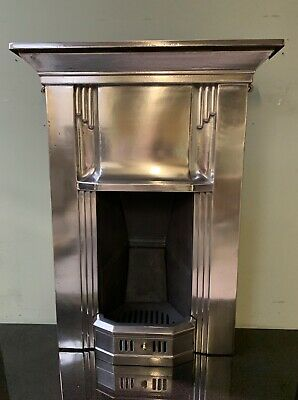 Stunning Original 1920s 1930s Art Deco polished cast iron fireplace