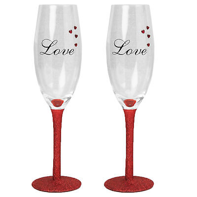 Set of 2 Love Champagne Flutes with Red Glitter Stem and Heart Gems